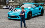 Christian Doyle (5) from Ballyfore in Edenderry was on hand to wave his chequered flag