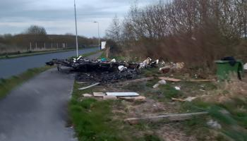 Remains of burnt out caravan left on footpath in Edenderry