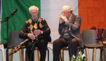 Billy Dowling, right, playing the harmonica with Tom Nolan.
