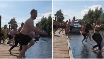 WATCH: Cop this? Gardaí take the plunge in Offaly for great reason