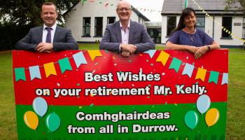 Offaly school says 'slán go fóill' to retiring principal