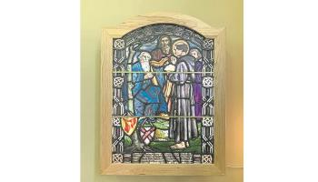 The beautiful Mary Lowndes stained glass window which was unveiled in St Mary's Church of Ireland Shinrone recently.