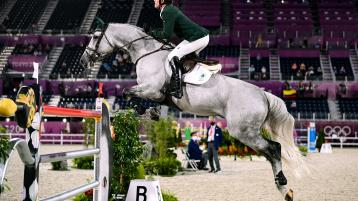 Darragh Kenny of Ireland riding Cartello during the jumping individual qualifier at the Equestrian Park during the 2020 Tokyo Summer Olympic Games in Tokyo, Japan. Photo by Stephen McCarthy/Sportsfile
