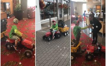 WATCH: Why is an elf driving around Tullamore on a tractor?